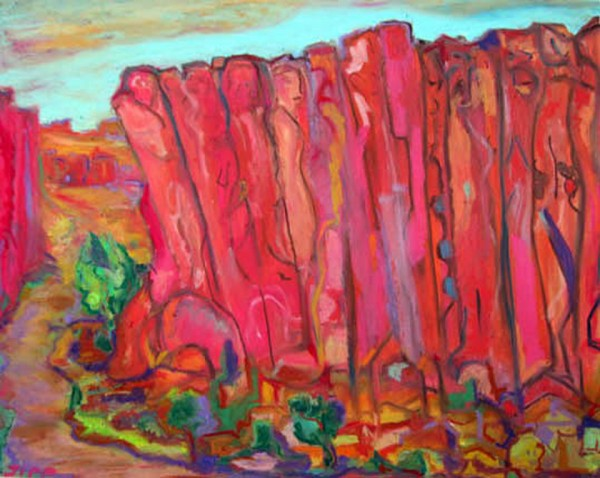 David Sipp, Llano de la Yegua, NM David Sipp Cliff Dwellers Oil Pastels 600x478